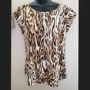 Chico's Animal Print Cap Sleeve Top size Small